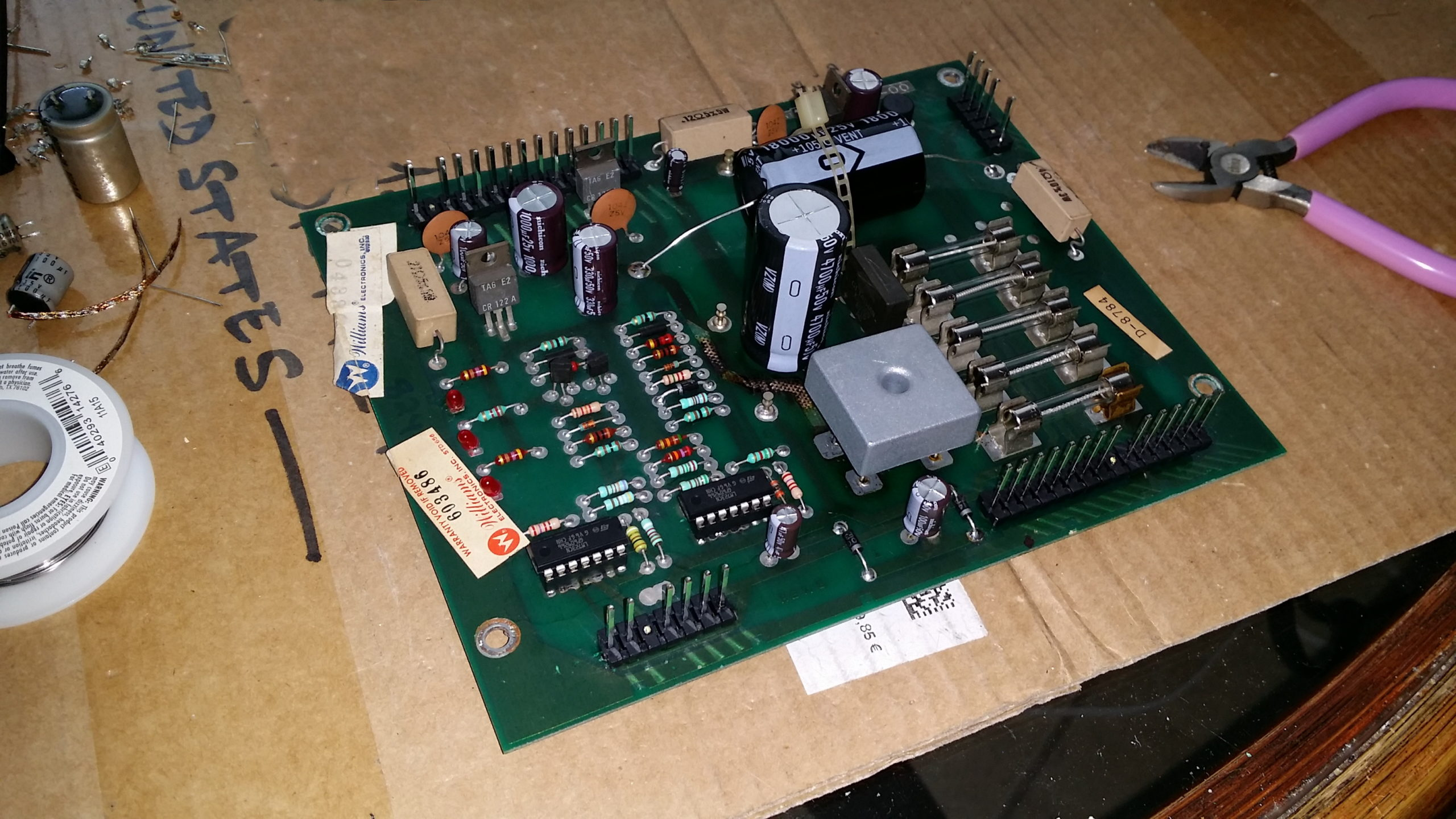 freshly reworked power supply board