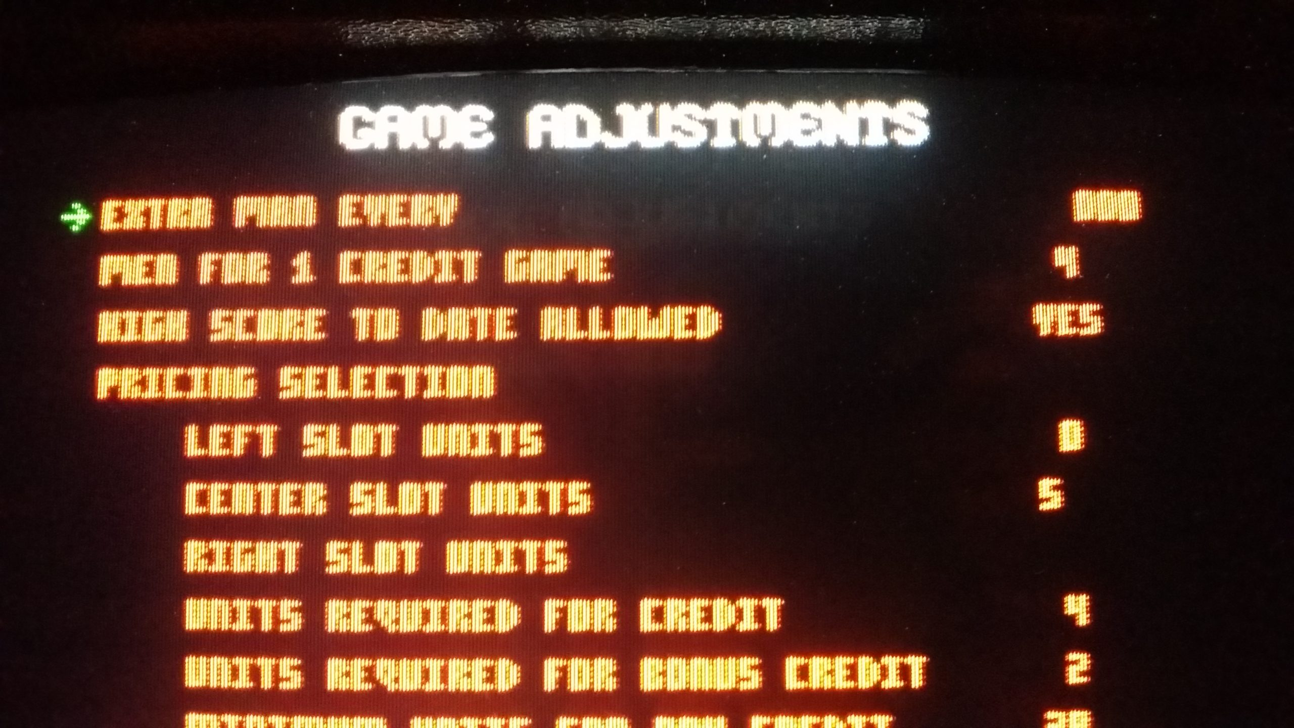 joust game adjustments screen with glitches