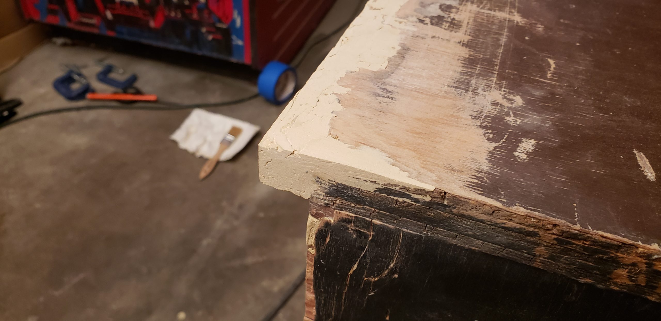 repaired section of wood