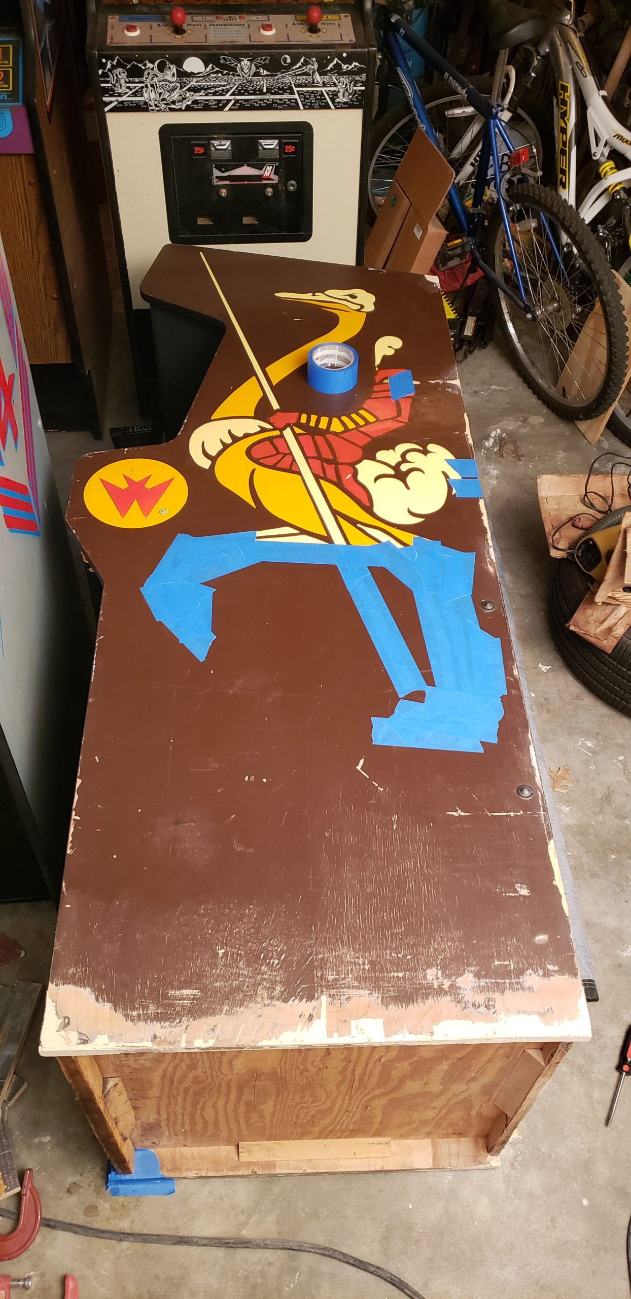 joust side art with partially masked stencil