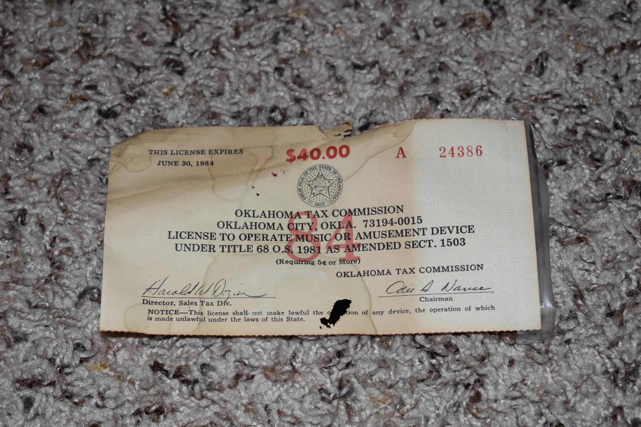 amusement license expiring in 1984